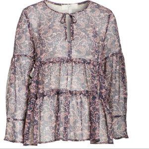 Joie tie neck silk sheer blouse NWT
